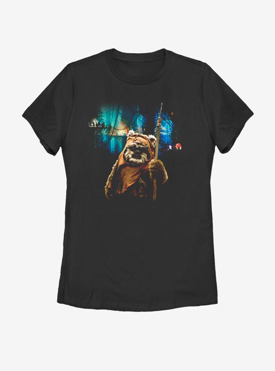 Star Wars Tree Village Wicket Ewok Womens T-Shirt