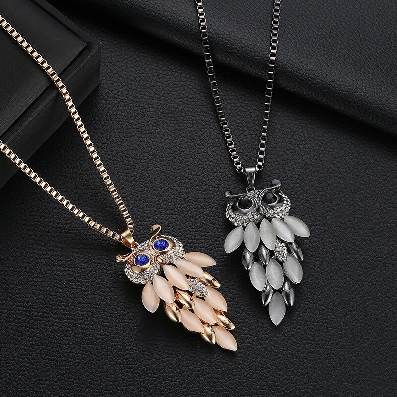 Fashion Long Style Owl Necklace Crystal Shine Necklace For Women