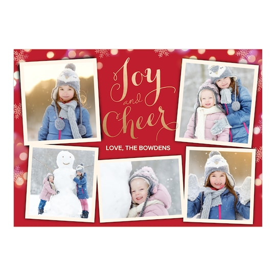 20 Pack of Gartner Studios® Personalized Glowing Snowflakes Holiday Foil Photo Card in Red | 5