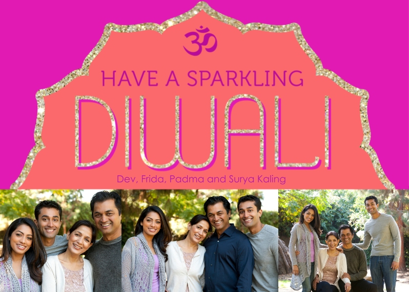 Diwali Cards Flat Glossy Photo Paper Cards with Envelopes, 5x7, Card & Stationery -Sparkling Diwali