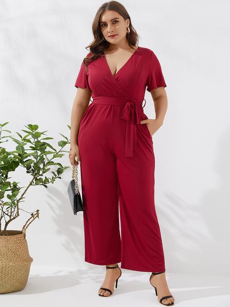 YOINS Plus Size Belt Design Deep V Neck Short Sleeves Jumpsuit