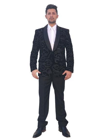 Men's Single Breasted Shawl Lapel Black Floral Pattern Blazer