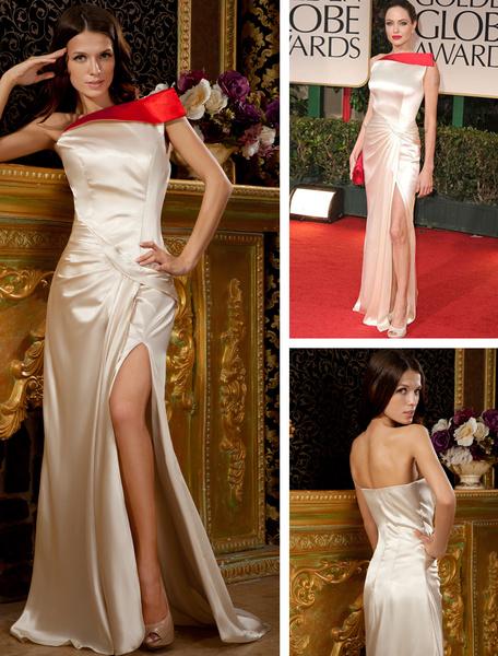Milanoo Vestido de Premios Globo de Oro de saten elastico de color champaña con abertura en la pierna