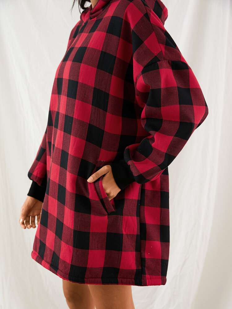 Women Plaid Flannel Lined Thick Robe Cozy Wearable Blanket Hoodie Oversized Sweatshirt With Front Pocket