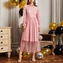 Flounce Sleeve Zip Back Contrast Lace Dress