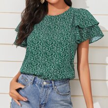 Allover Plants Print Layered Bell Sleeve Top