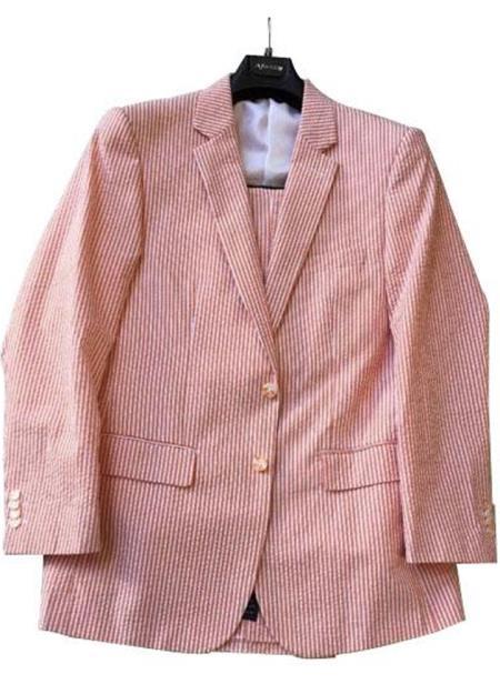 Mens Striped Cotton seersucker suit Color Orange Flat Front Pants