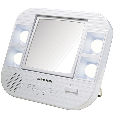 Sharper Image J1025 Lighted Makeup Mirror With Bluetooth, One Size , White