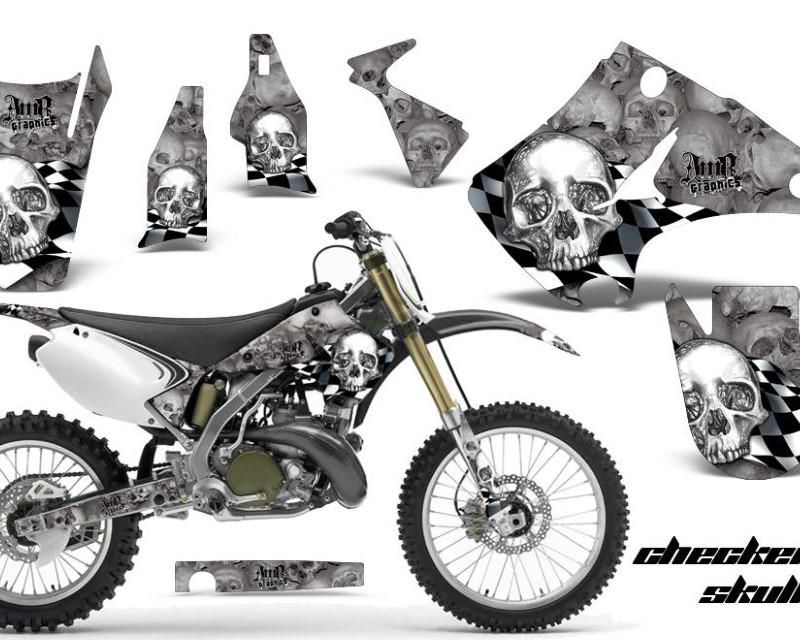 AMR Racing Dirt Bike Decal Graphics Kit Wrap For Kawasaki KX125 | KX250 2003-2016áCHECKERED CHROME SILVER