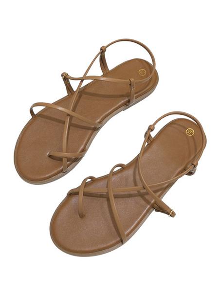 Milanoo Womens Flat Sandals Bohemian Sandals Gladiator Coffee Brown Starp Sandals