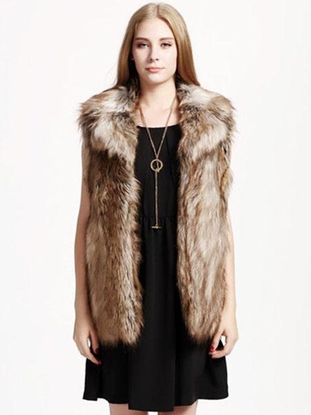 Milanoo Faux Fur Vest Notch Collar Pockets Women's Brown Winter Outerwear