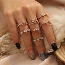7 Stuecke Ring mit Strass und Stern Dekor