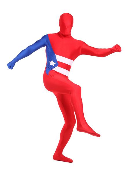 Milanoo Morph Suit Red Cuba Flag Zentai Suit Full Body Lycra Spandex Bodysuit