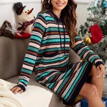 Fairisle Print Hooded Sweater Dress
