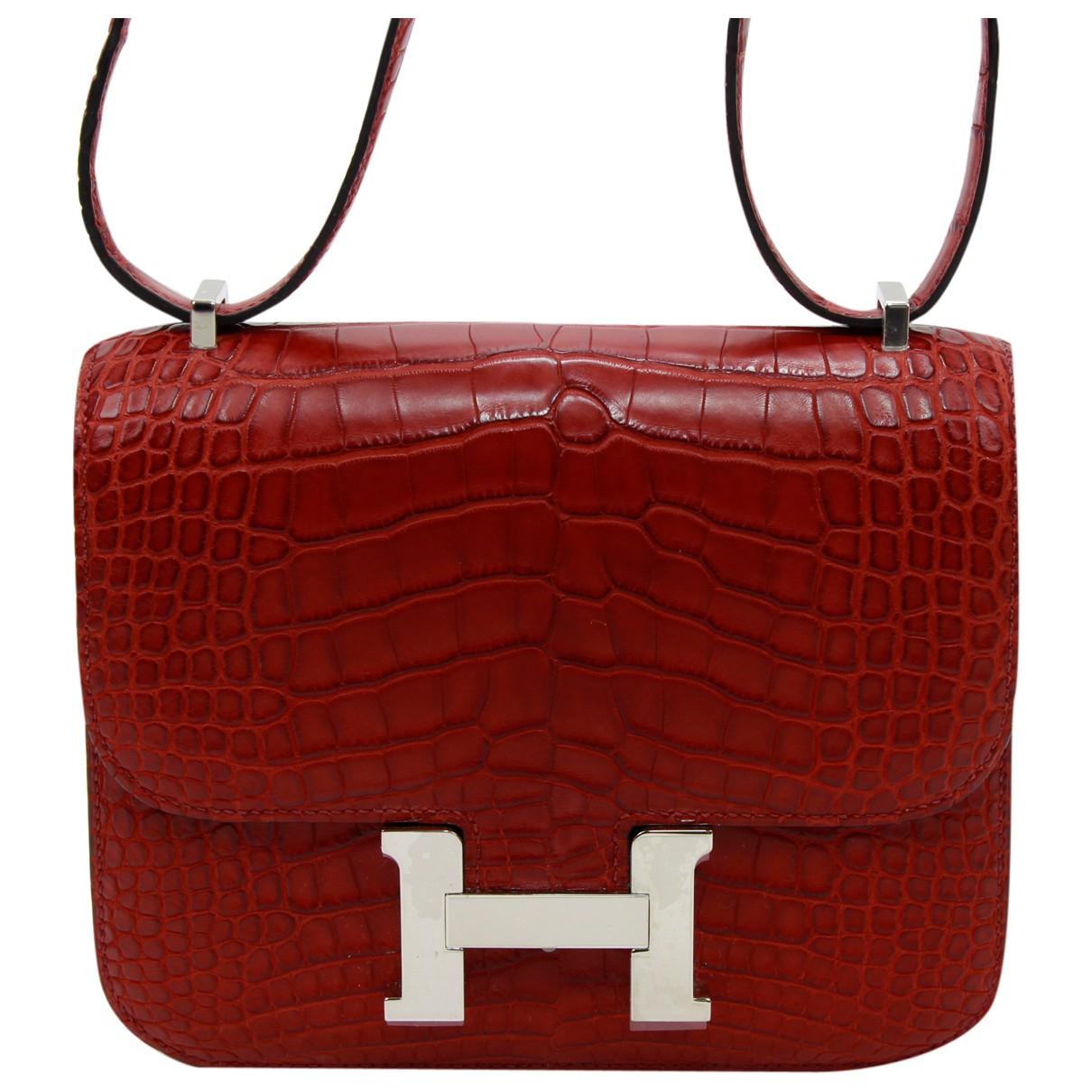 Hermes Constance Handtasche in  Rot Aligator