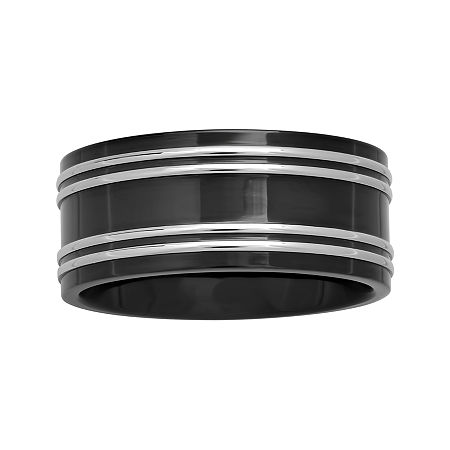 Mens 10mm Two-Tone Stainless Steel Wedding Band, 14 1/2 , No Color Family