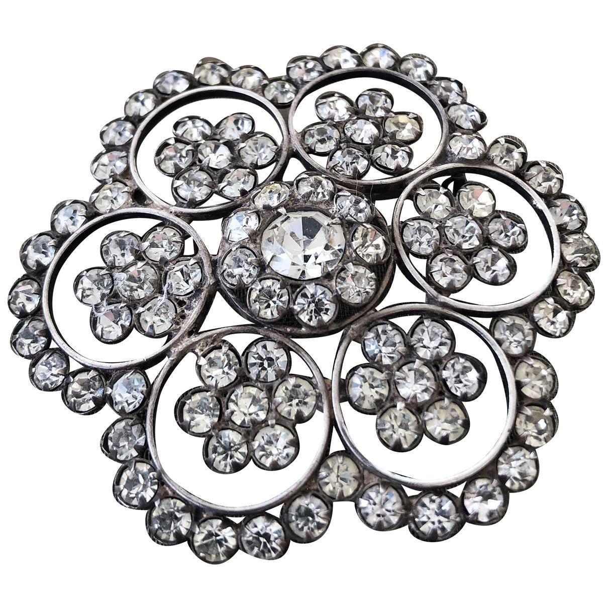 Non Signe / Unsigned Motifs Floraux Brosche in  Silber Silber