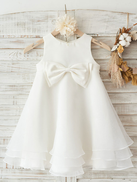 Milanoo Flower Girl Dresses Jewel Neck Sleeveless Bows Kids Party Dresses