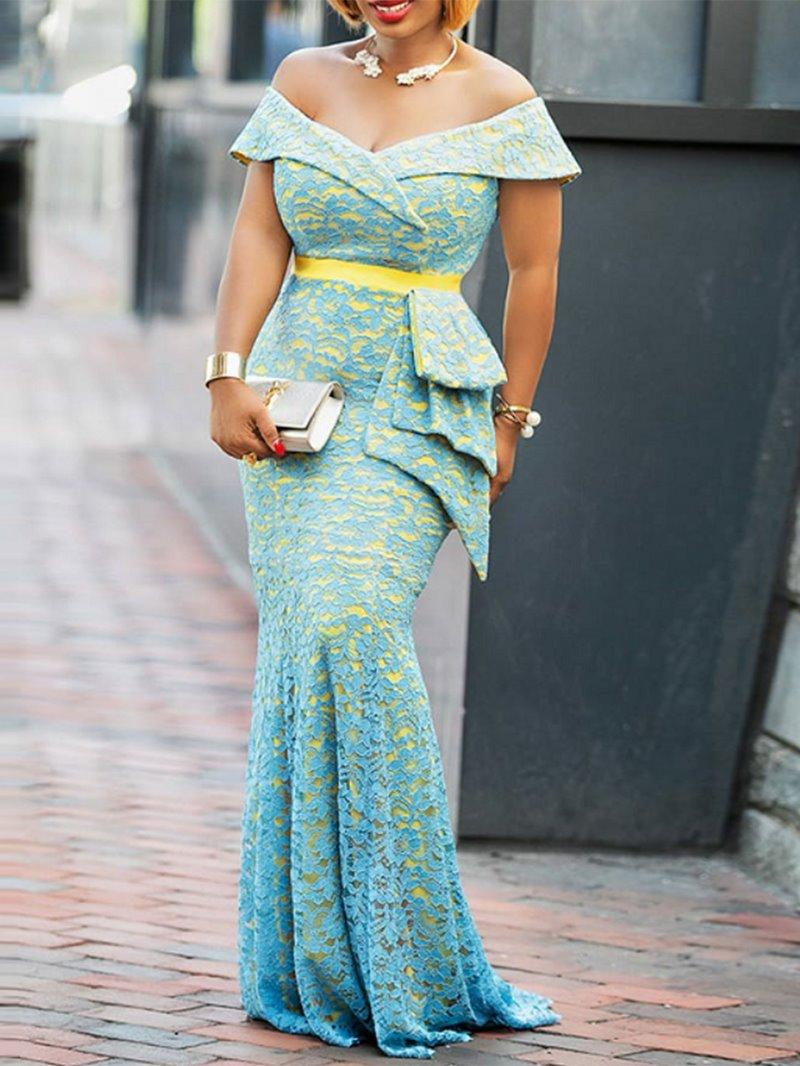 Ericdress Off Shoulder Floor-Length Lace Mermaid Dress