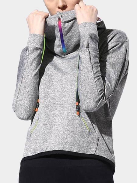 Yoins Active High Neck Loose Zip Design Sports Hoodie in Sliver Grey