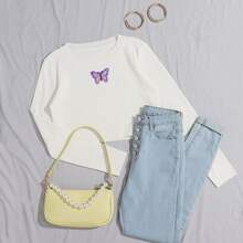 Butterfly Patched Ribbed Knit Sweater