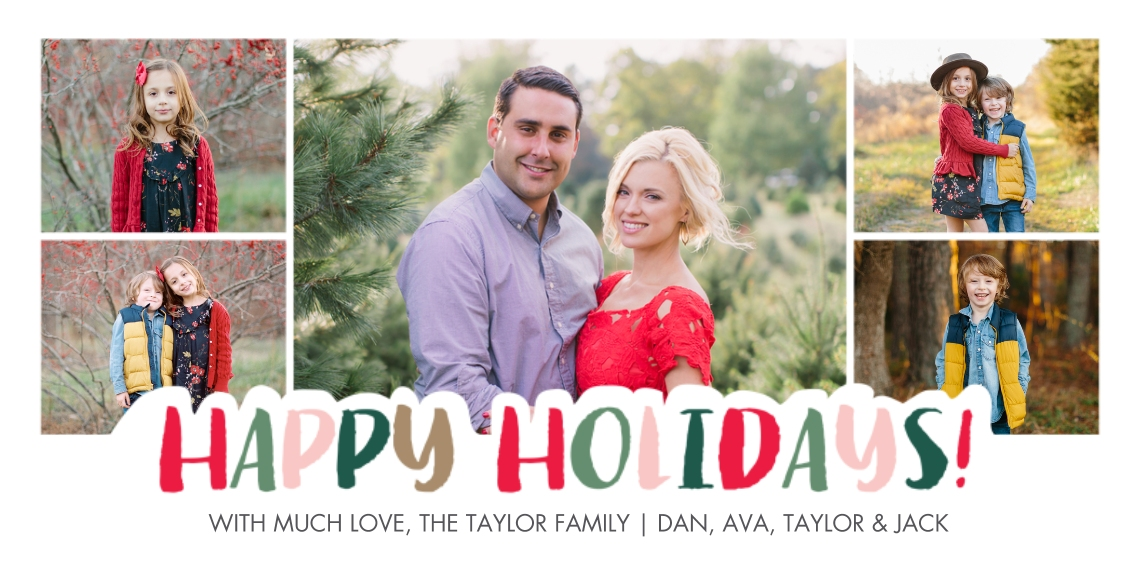 Holiday Photo Cards Flat Glossy Photo Paper Cards with Envelopes, 4x8, Card & Stationery -Holiday Cheerful Festive Letters by Tumbalina