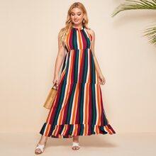 Plus Vertical Striped Ruffle Hem Halter Dress