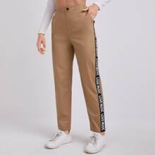 Hose mit Buchstaben Muster, seitlichem Band und geradem Beinschnitt