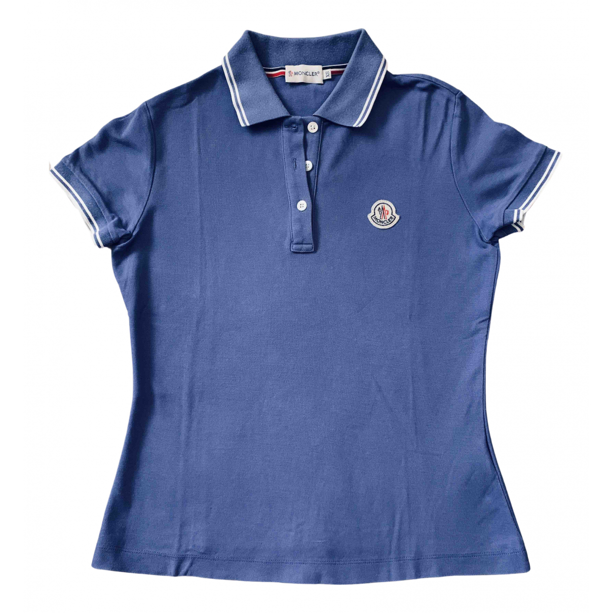 Moncler - Top   pour femme en coton - bleu