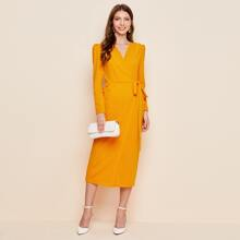 Surplice Neck Puff Sleeve Tie Side Dress