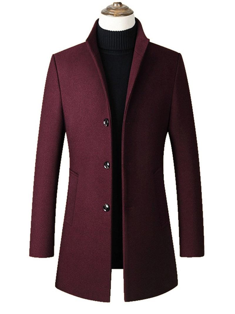 Ericdress Plain Stand Collar Mid-Length Mens Slim Wool Coat