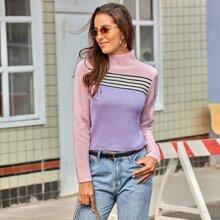 Striped Colorblock Mock Neck Sweater