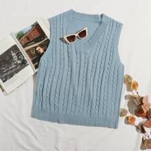 Plus Cable Knit Solid Sweater Vest