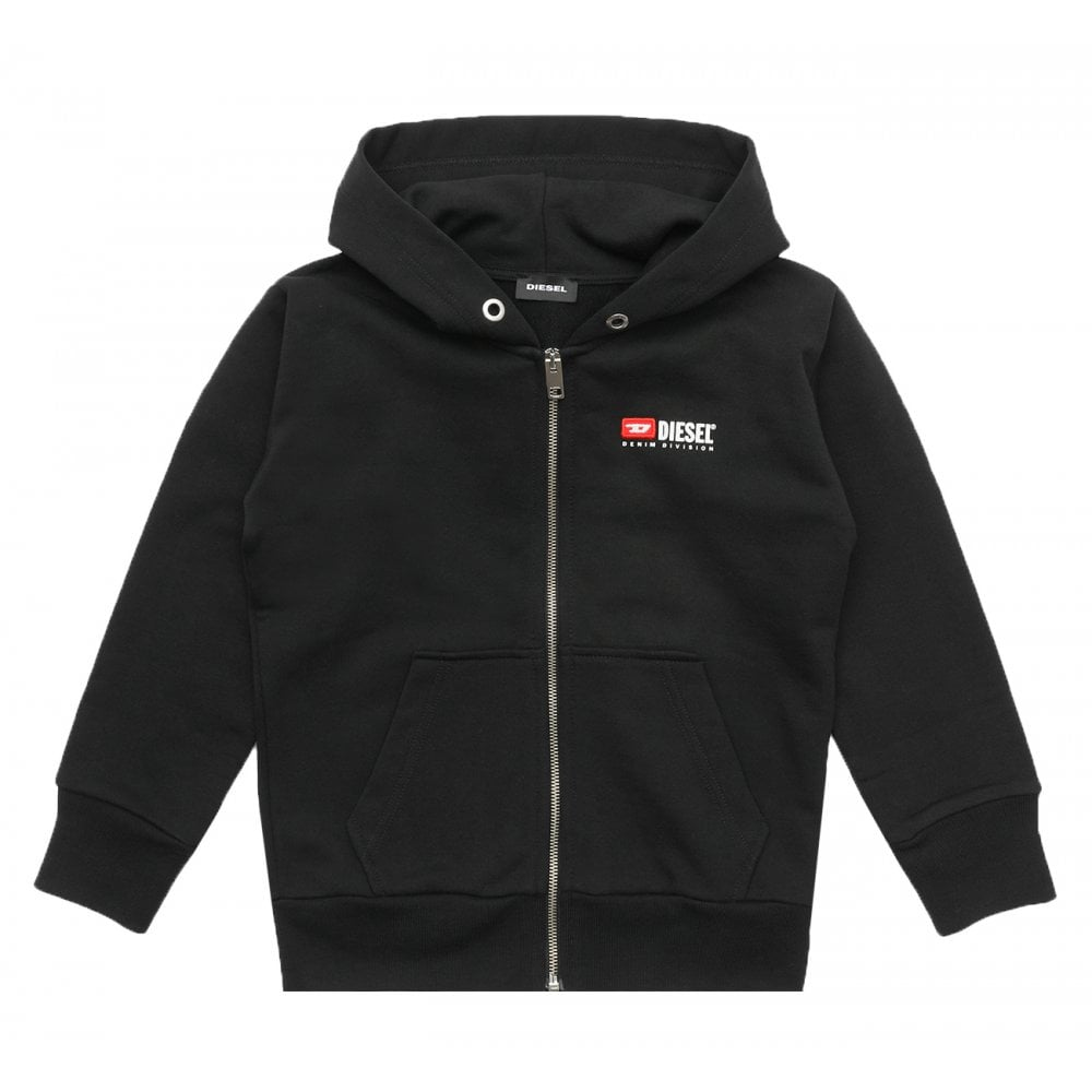 Diesel Embroidered Logo Hoodie Colour: BLACK, Size: 12 YEARS