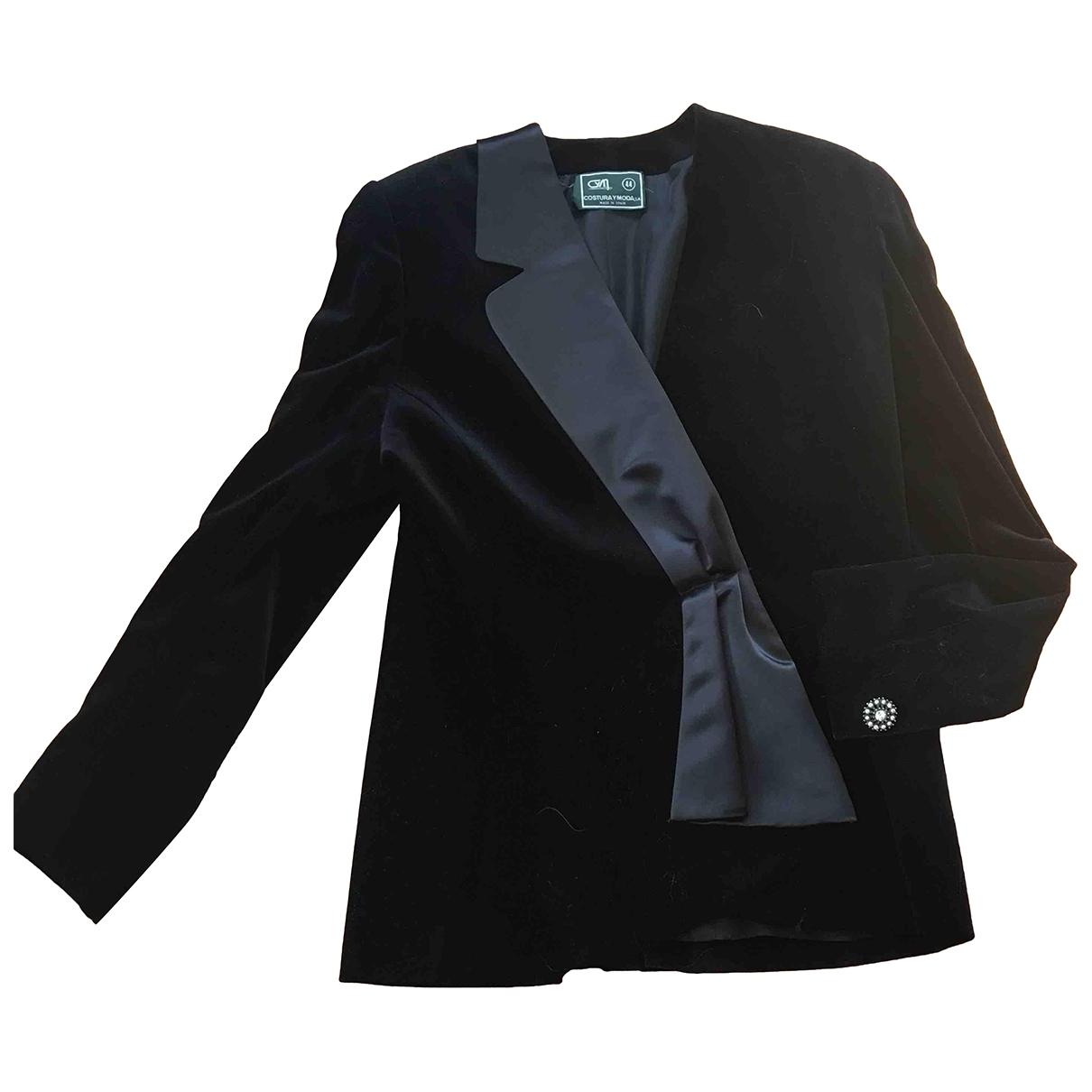 Non Signé / Unsigned \N Black Velvet jacket for Women XL International