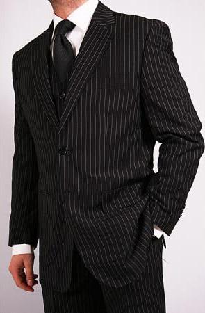 Mens 3Piece Black Pinstripe Vested Suit with Tie