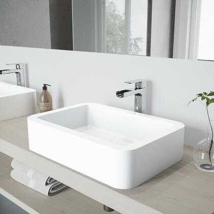 VGT936 Petunia Matte Stone Vessel Bathroom Sink Set With Amada Faucet In