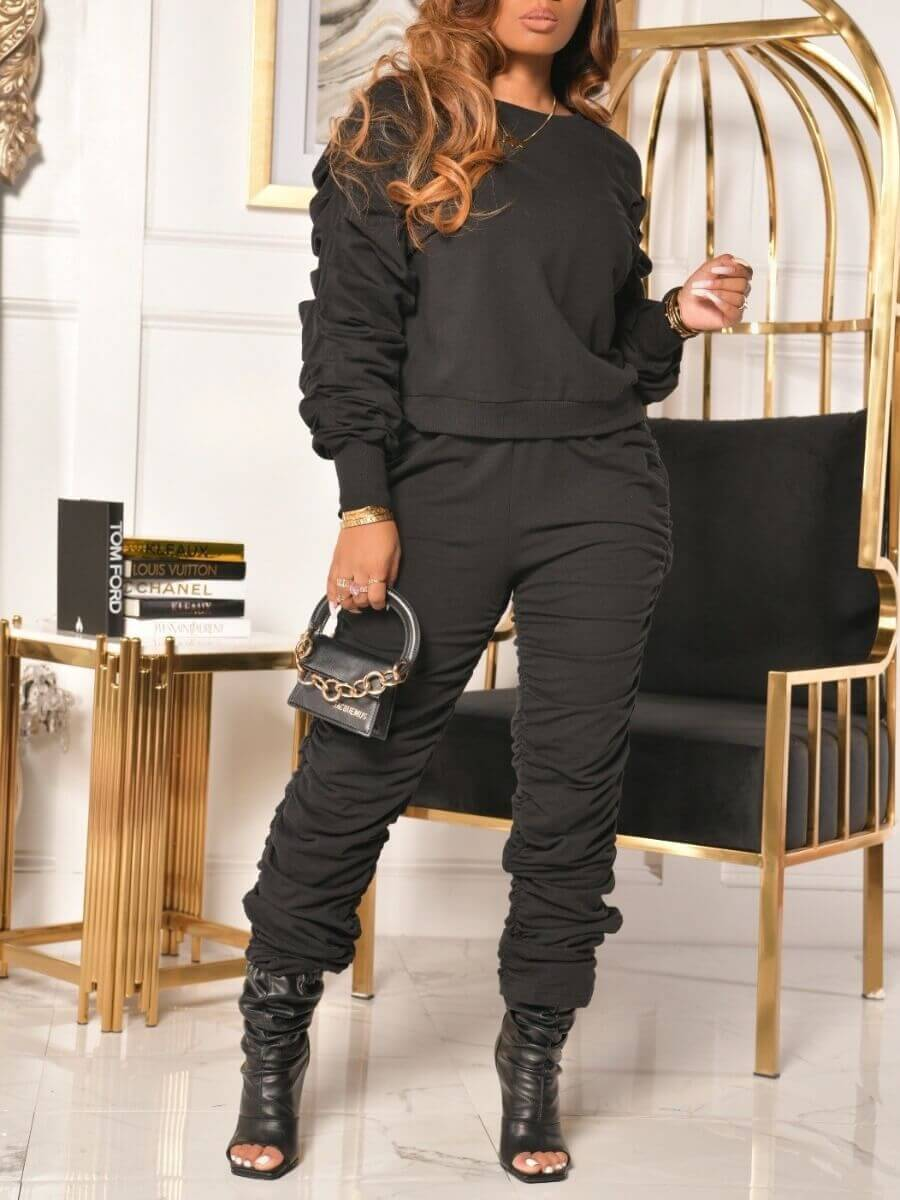 LW Lovely Casual O Neck Ruffle Design Black Two Piece Pants Set