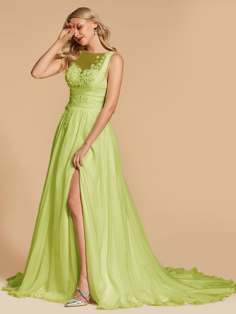 Ericdress A Line Applique Pleats Long Evening Dress With Train