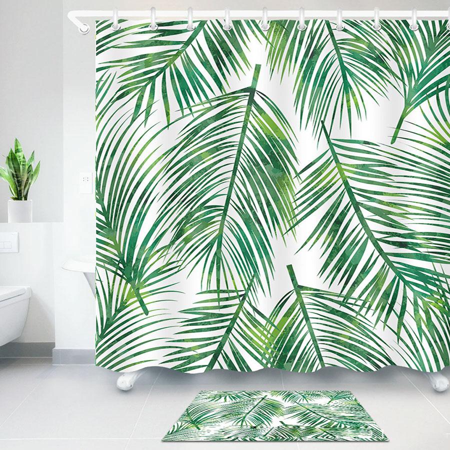 Tropical Palm Leaves 3D Digital Printing Polyester Waterproof Bathroom Shower Curtain