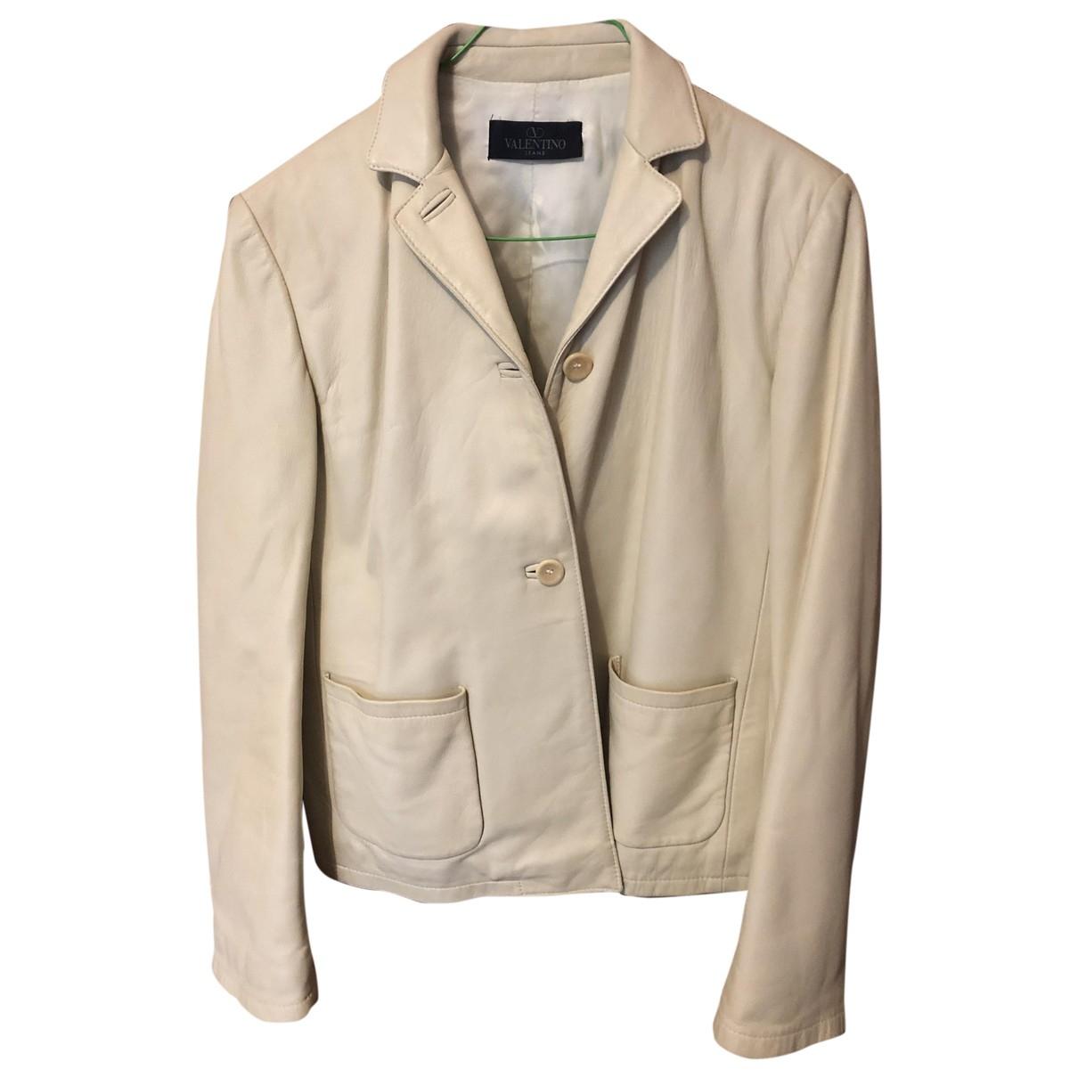 Valentino Garavani \N Beige Leather Leather jacket for Women 42 IT