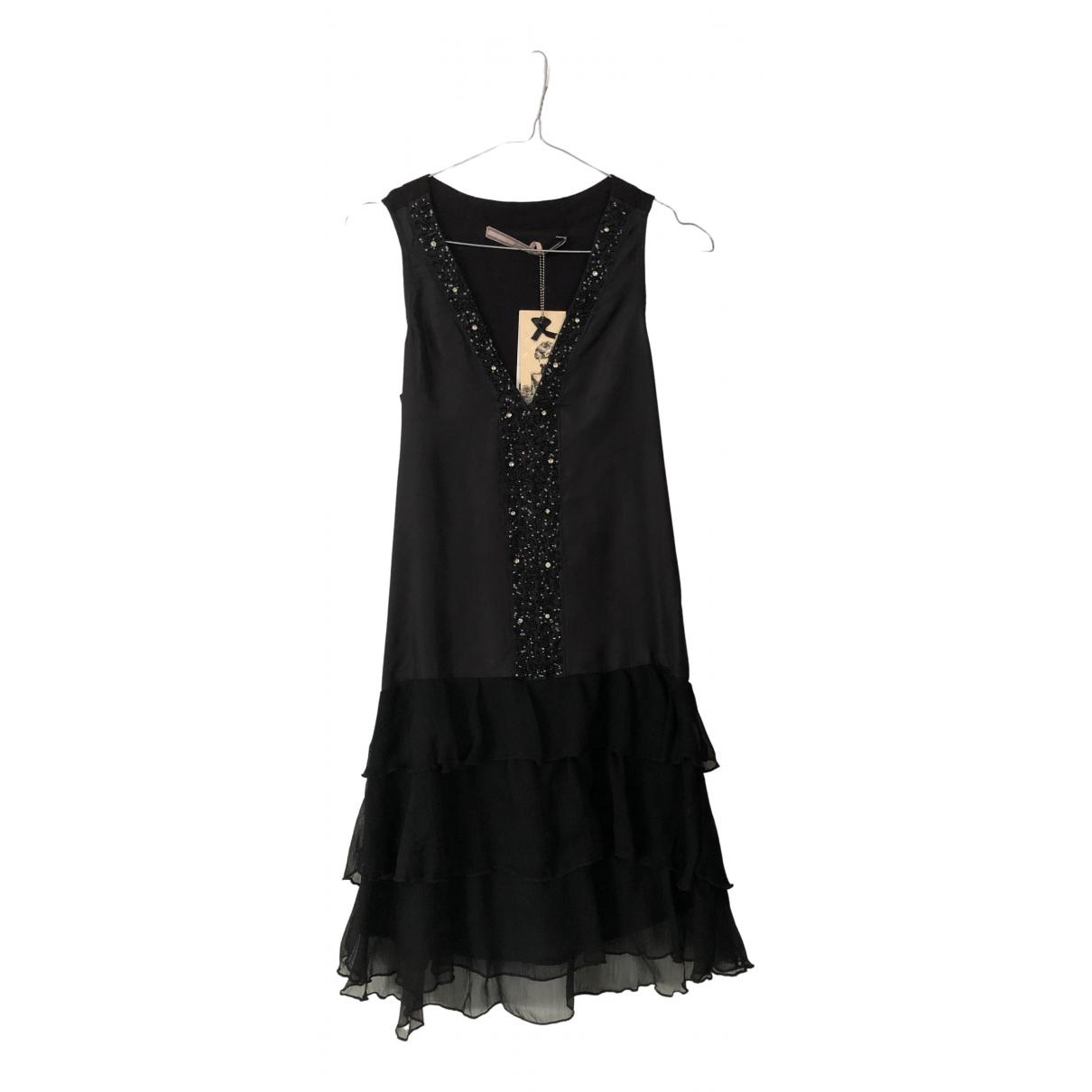 Silvian Heach - Robe   pour femme en soie - noir