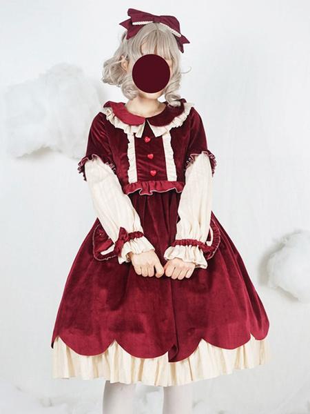 Milanoo Sweet Lolita OP Dress Velour Bow Ruffle Burgundy Lolita One Piece Dress