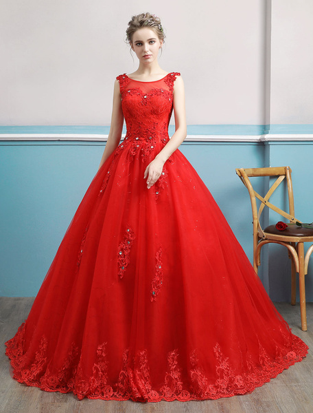 Milanoo Red Wedding Dresses Lace Applique Beaded Princess Ball Gowns Train Bridal Dress