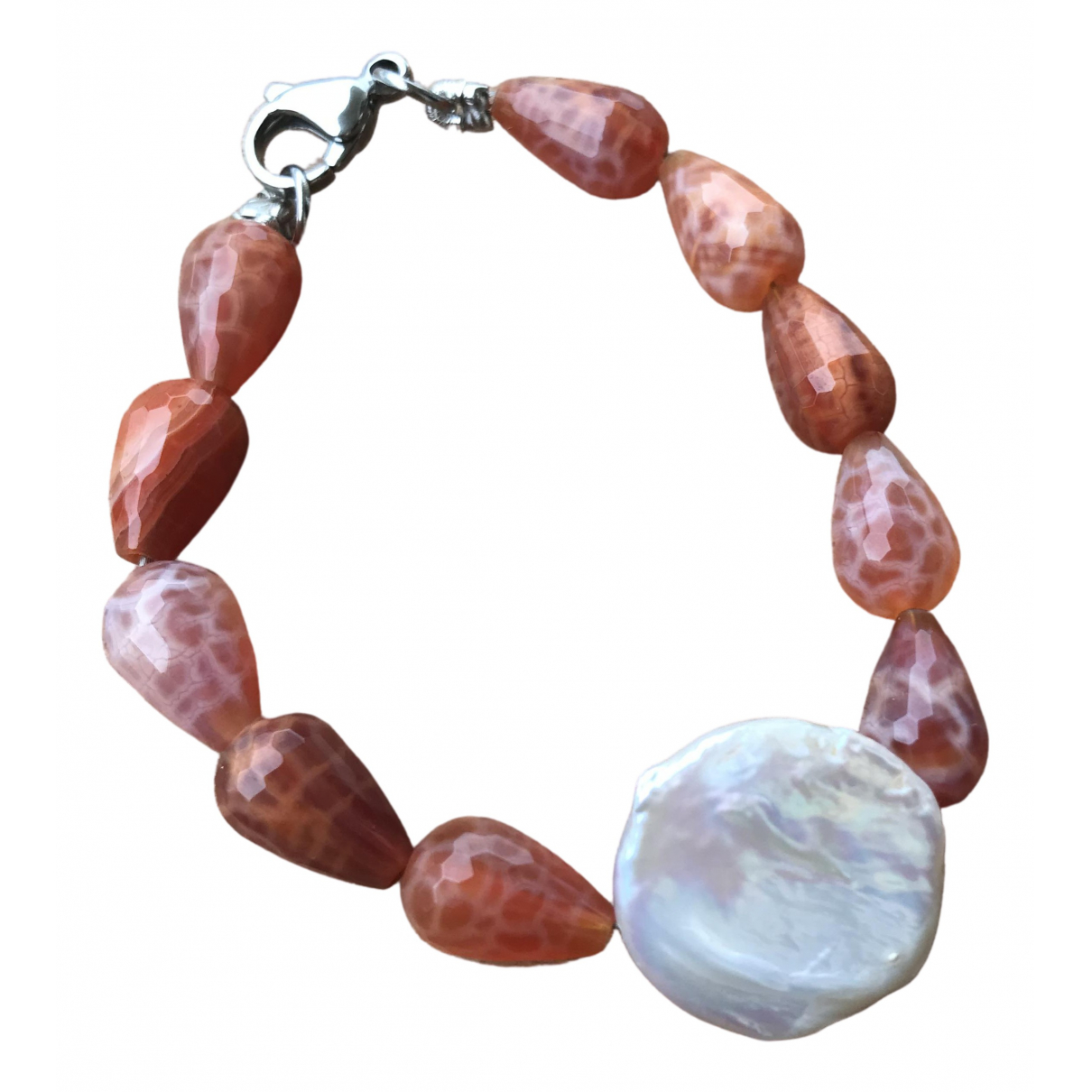 Non Signe / Unsigned Agate Armband in  Rot Stahl