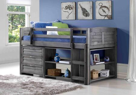 790-TAG-B Louver Low Loft Bed in Antique