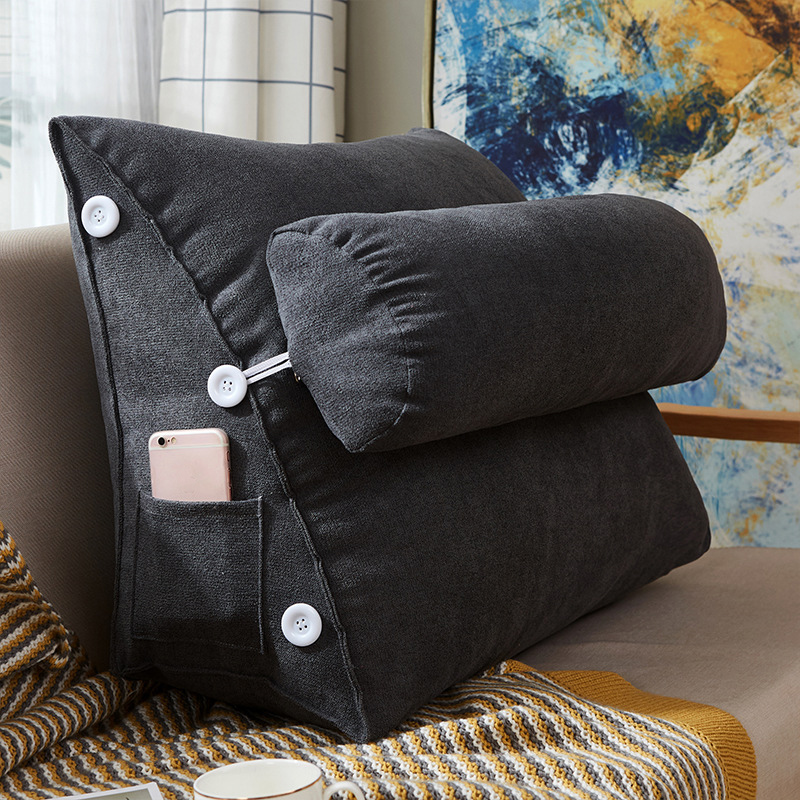 Adjustable Back Wedge Cushion 9 Colors Pillow with Pocket for Sofa Bed Office Endurable Skin-friendly All-Season