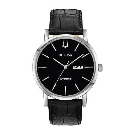 Bulova American Clipper Mens Black Leather Strap Watch-96c131, One Size , No Color Family
