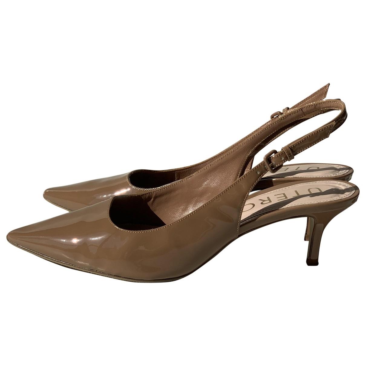 Uterque - Escarpins   pour femme en cuir - camel