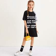 Girls Layered Lace Detail One Shoulder Slogan Graphic Tee Dress